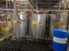 Cherry-Burrell 3-Tank 300 Gallon CIP System (300 Gal ea), Additional Info: 3'-6 | Reqd Rig Fee $550
