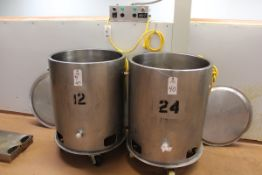 """(2) 75-GALLON APPROX STAINLESS SELF CONTAINED HEATED TANKS, 31.5"""" ID X 20"""" SID 