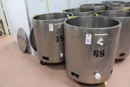 NO JACKET CONTROL (2) 75-GALLON APPROX STAINLESS SELF CONTAINED HEATED TANKS, | Reqd Rig Fee: $50