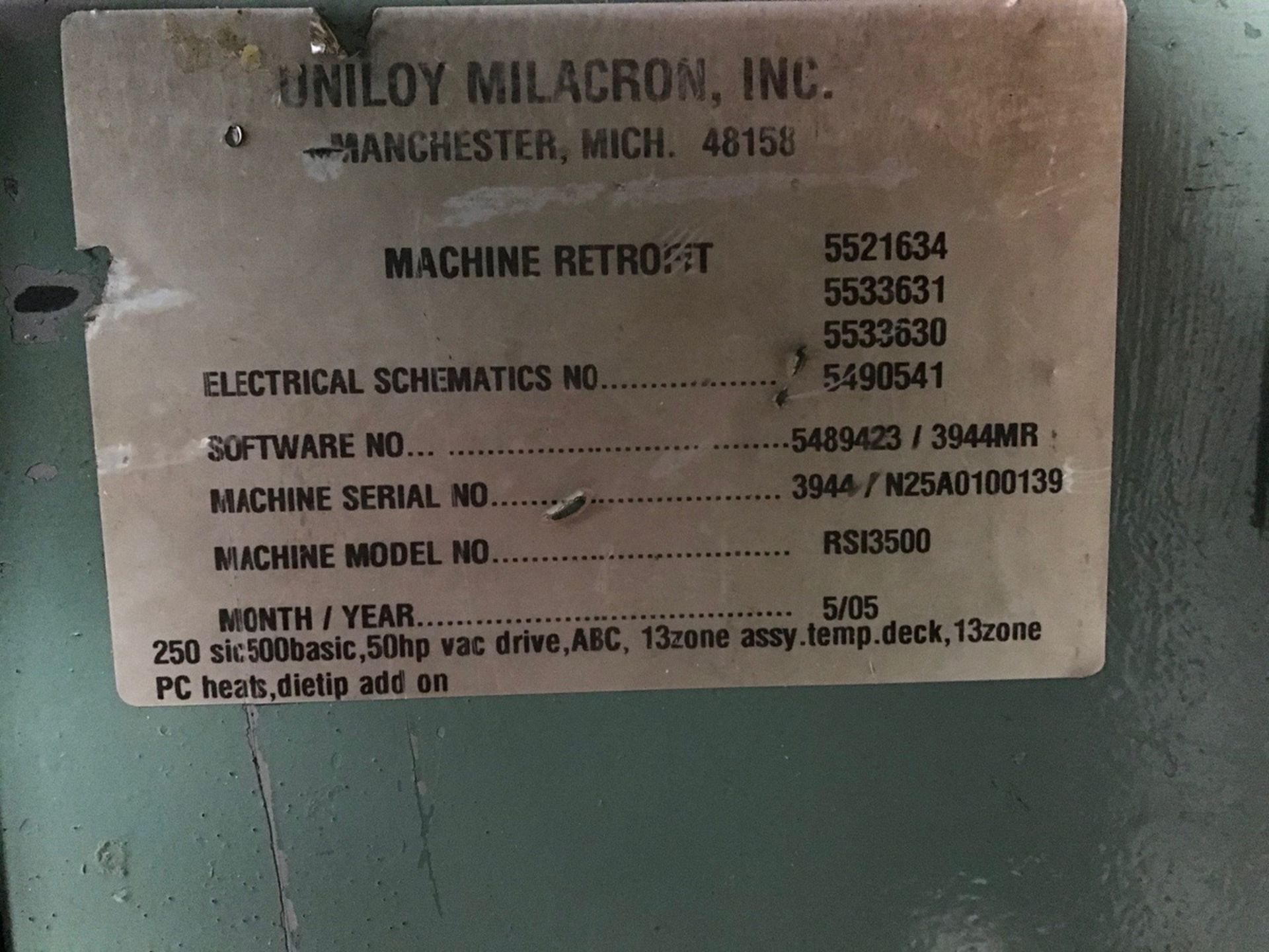 Uniloy 7-Head Blow Molding Machine, M# 250R1, S/N 250R1-3944 | Rig Fee: $14500 - Image 6 of 8