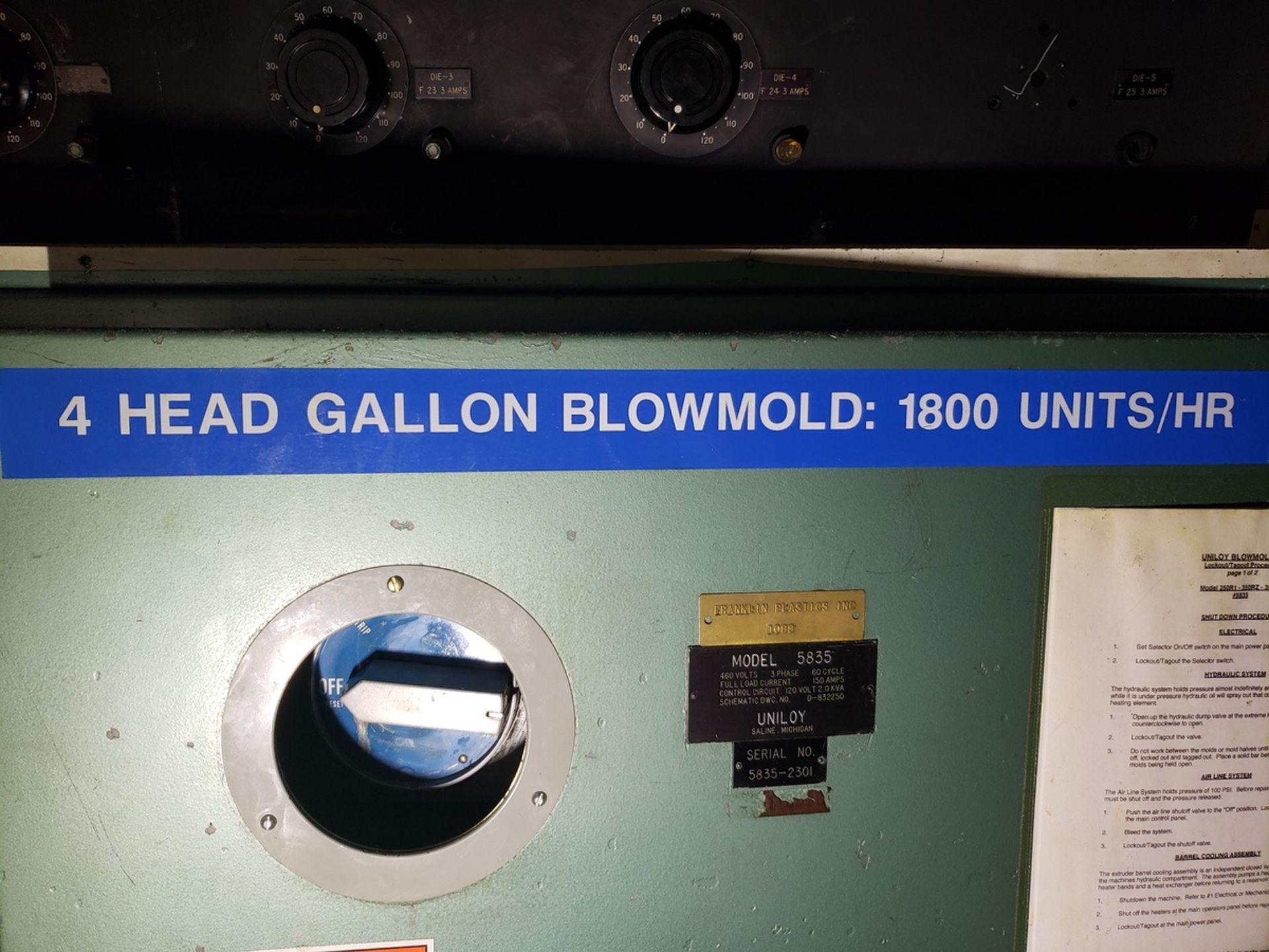 Uniloy 4-Head Blow Molder, Model 5835, S/N: 5835-2301   Rig Fee: $14500 - Image 3 of 9