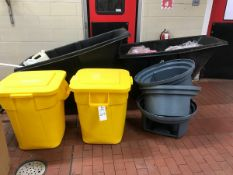(2) YELLOW GARBAGE CANS, (2) BLACK DUMPSTERS | Rig Fee: $75