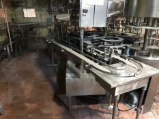 STAINLESS STEEL GALLON JUG CONVEYOR, 180 TURN, APPROXIMATELY 20FTLONG, WITH JUG WA   Rig Fee: $850