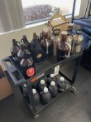 CART AND CONTENTS, ASSORTED GROWLERS, SS AND GLASS, INSULATED | Rig Fee: See Desc