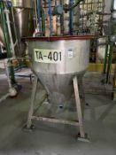 Palm Oil Stainless Steel Tank, 100-Gal, 965mm L x 965mm W x 889mm H, 190 kg., Facility Tag: TA-401