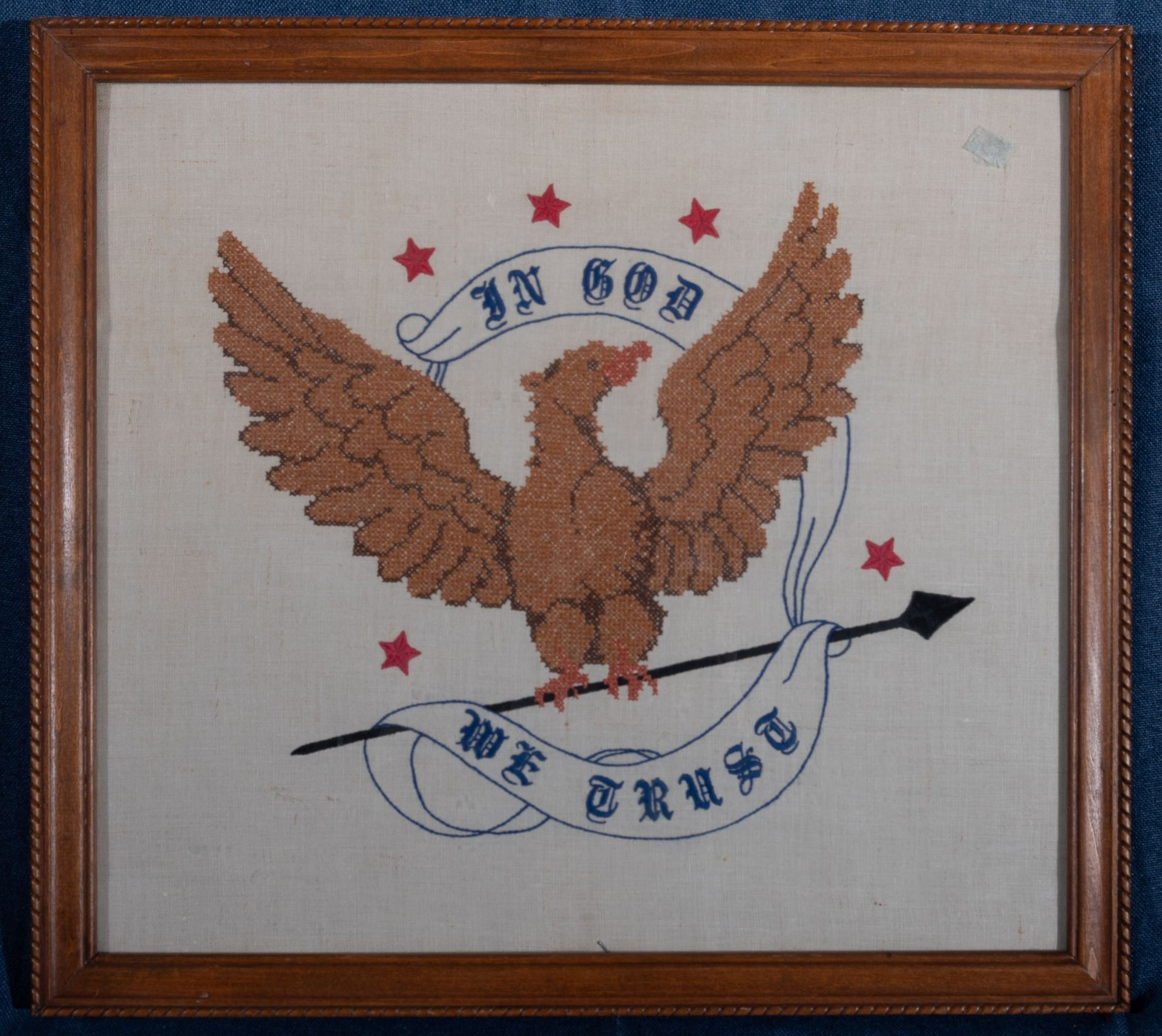 "Framed Needle Point ""In God We Trust"" 21""x19"""