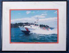 """Framed Photo Coast Guard Boat #413884 14""""x8"""""""