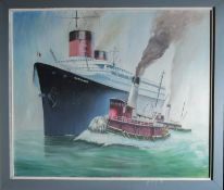 """Canvas Painting """"Normandie"""" Steam Ship with Wood Frame 42""""x36"""""""