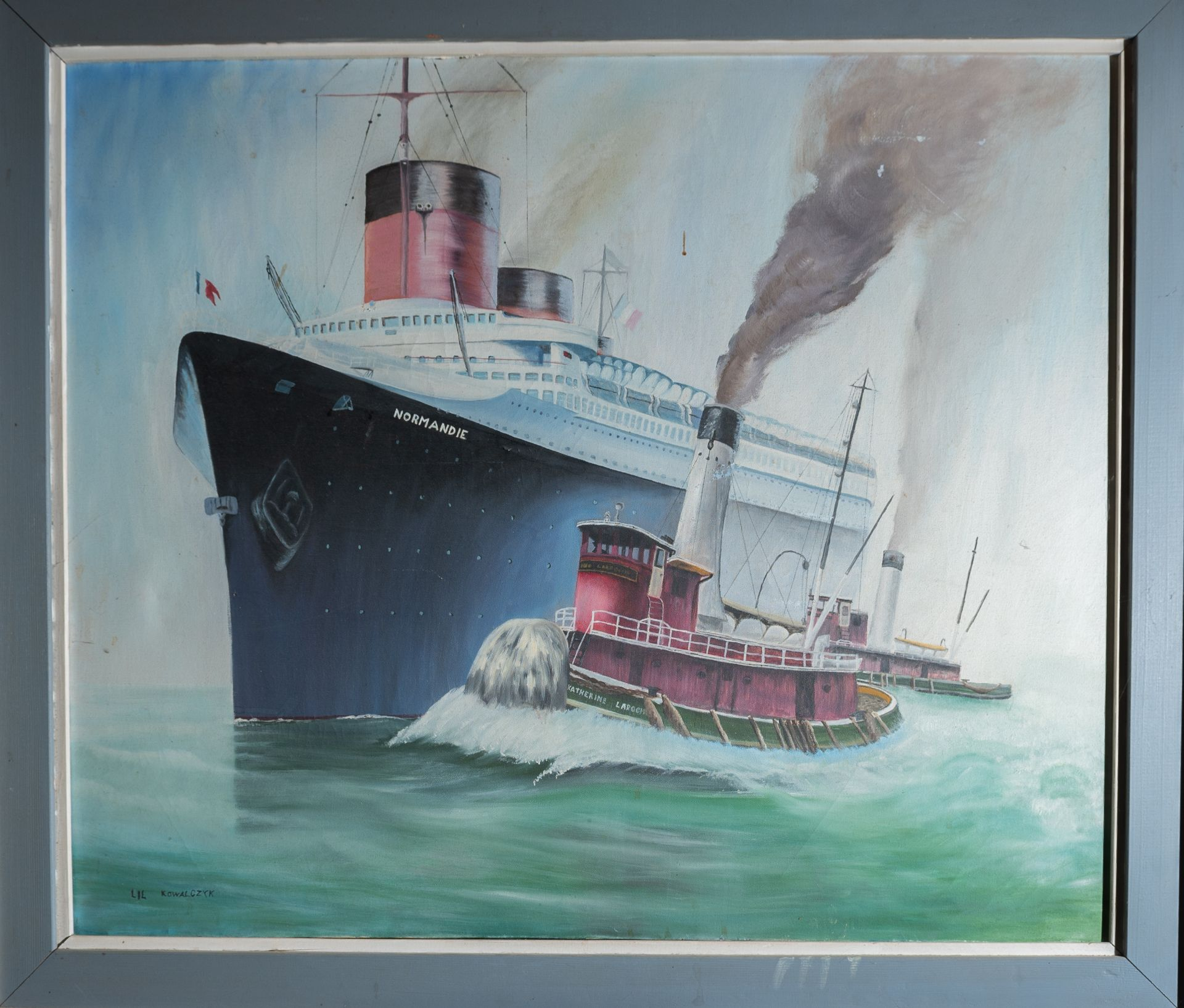 "Canvas Painting ""Normandie"" Steam Ship with Wood Frame 42""x36"""