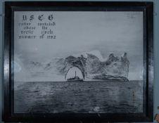 "Black and White US Coast Guard Cutter Ice Berg Framed Photo 21""x17"""