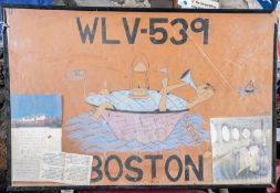 """""""WLC-539 Boston"""" Painting with Clippings 30""""x20"""" (Broken Frame)"""