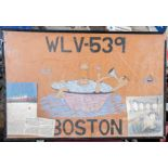 """WLC-539 Boston"" Painting with Clippings 30""x20"" (Broken Frame)"