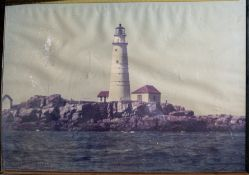"Framed Photo ""Lighthouse"" Water Damage and Broken Frame 28""x20"""