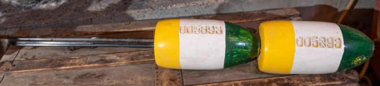 """Lobster Pot Buoy Plastic and Foam Yellow, White, Green 36"""""""