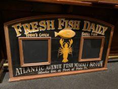 "Vintage Wood Fresh Fish Daily Chalk Board Sign Atlantic Avenue Fish Market Boston, 62"" x 36"""