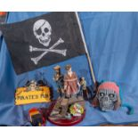 [Lot] Pirate Décor C/O: Skull, Flag, Wood Sign, Figurines, Etc.