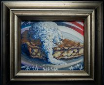 """Wood Framed Painting """"Apple Pie"""" By Trish Turner 16""""x14"""""""