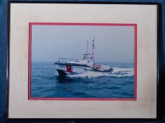 "Framed Photo of Coast Guard Boat 18""x15"""