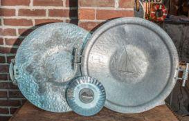 "(2) Pewter Platters 18"""