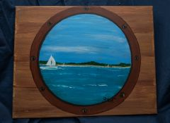 """Canvas Painting Sail Boat Through a Port Hole 14""""x11"""""""