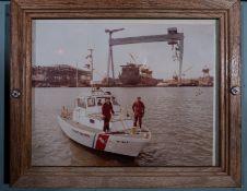 "Wood Framed Photo Coast Guard Boat Docking 12""x10"""
