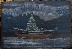 "Snowy Boat Xmas Painting "" Joes Nautical Bar"" 30""x20"""