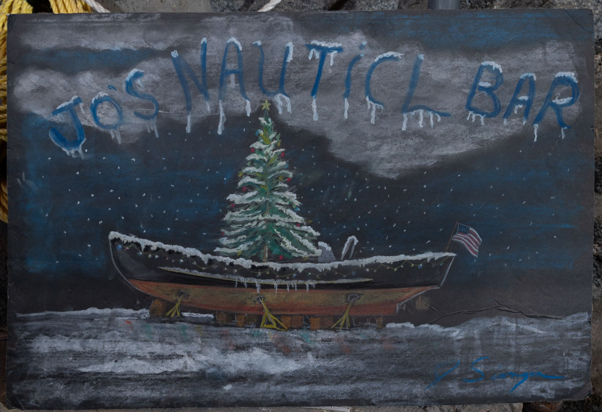 "Snowy Boat Xmas Painting "" Joes Nautical Bar"" 30""x20"""