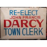 """Re-Elect John Darcy"" Wood Sign 24""x17"""