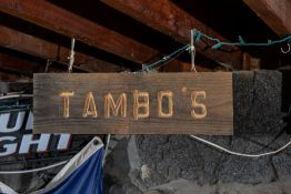 """""""Tambo's"""" All Wood Carved Sign 24""""x8""""x2.5"""""""