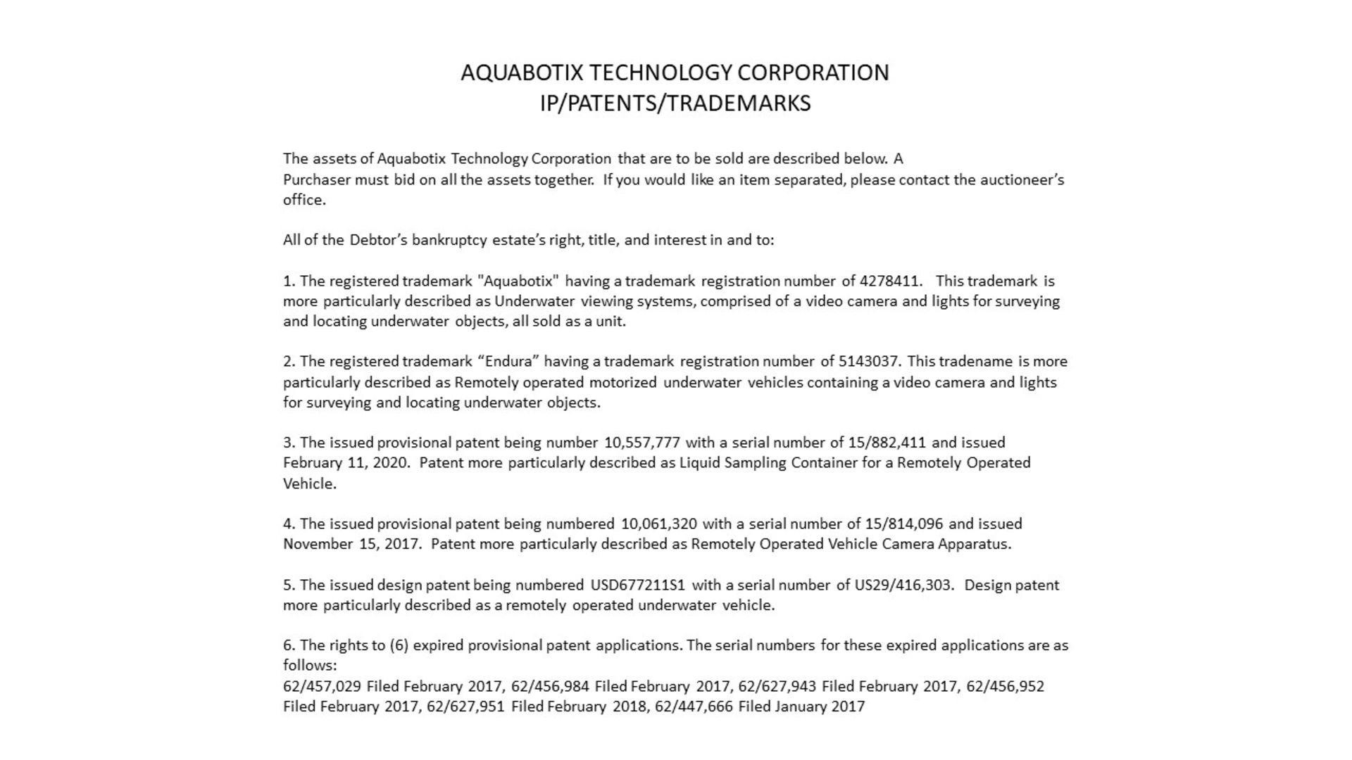IP/PATENTS/TRADEMARKS - SEE DESCRIPTION TO INQUIRE, PLEASE CONTACT PCOTTO@PESCO.com