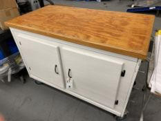"Port. Wood Top Rolling Cab. w/ Contents c/o: Solvents, etc. 51""x28""x38"""