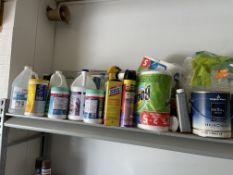 (Lot) Asst. Cleaning Supplies Etc. On One Shelf