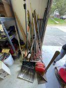 (Lot) Asst. Rakes Brooms, Shovels, Etc.