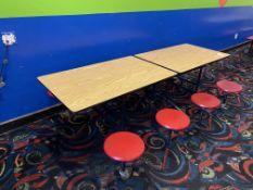 """(2) Portable Folding Laminate Tables w/8 Stools 8'L x 30"""" Table Size"""