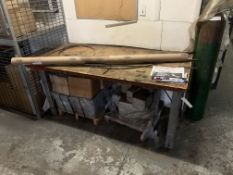 6' Metal Base Wood Top Table