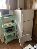 {LOT} Balance in Break Room c/o: Refrigerator, Steel Base Table w/Wood Top, Oven