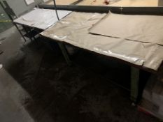 (2) Steel Base Wood Top Tables (1 is 5' and 1 is 4')