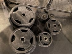 {LOT} Set of Hammer Strength Rubber Coated Weight Plates (485 Lbs. Total) c/o: (4) 45 Lb.