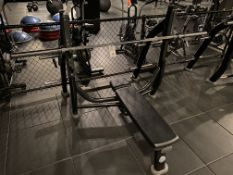 Life Fitness #SOFB Olympic Flat Bench w/#SOBWS Back Weight Rack & Standard Weight Bar