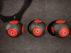 Set of 3 American Barbell Medicine Balls Red & Black This Set c/o: 10Lb., 14 Lb., & 20 Lb.
