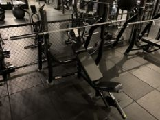 Life Fitness #SOIB Olympic Incline Bench w/#SOBWS Back Weight Rack & Standard Bar