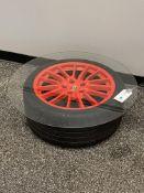 """Porsche Tire Glass Top End Table 32"""""""