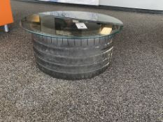 """Racing Tire Glass Top End-Table. 30"""" Round"""