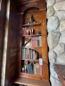 {LOT} Bookcase Contents c/o: Books, Pulley, Iron, Old Bottle, Etc.
