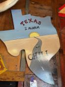 """Wood Chili Sign in Shape of Texas 21""""W x 36""""H"""
