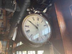 "Vintage Metal Wall Mounted Clock ""Café de Marguerites"" 23"" x 20"""