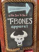 "Wood Base Rope Border Sign ""T BONES Apparel"" 13""W x 21""H"