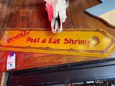 "Wood Shrimp Sign 39""W x 9""H"
