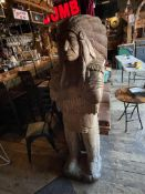 """Wood Carved Indigenous Person Sculpture 22""""W x 70""""H"""