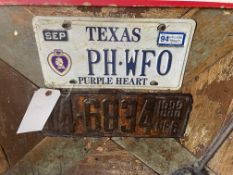 (3) License Plates - Texas, Nebraska & Iowa - Nebraska Says 1933